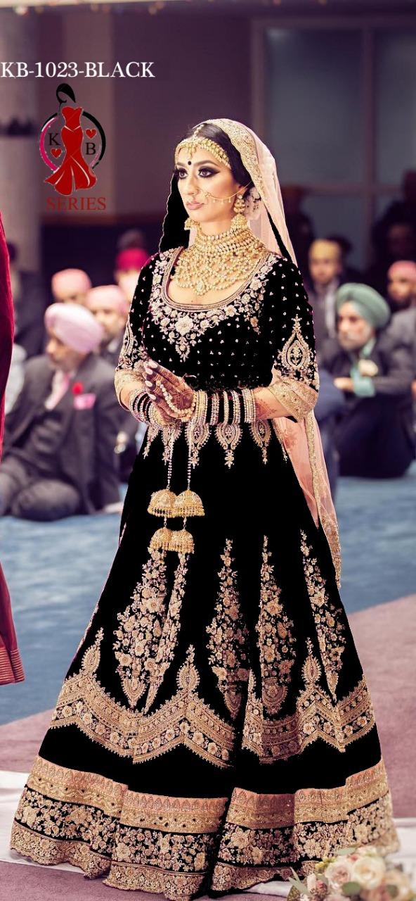 Viwah Fashion Series KB1023-1 -KB1023-4 Velvet With Beautiful Embroidery Work & Diamond Work Wedding Wear Anarkali Suita Collection