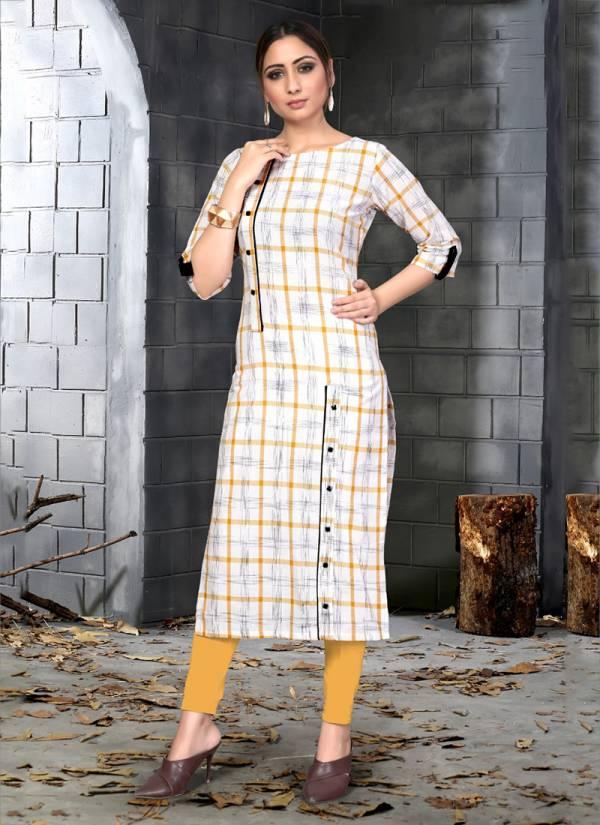 Fashion Galleria Bhargavi Vol 4 Series FG116-FG119 Slub Cotton With Chex Printed New Fancy Daily Wear Kurtis Collection
