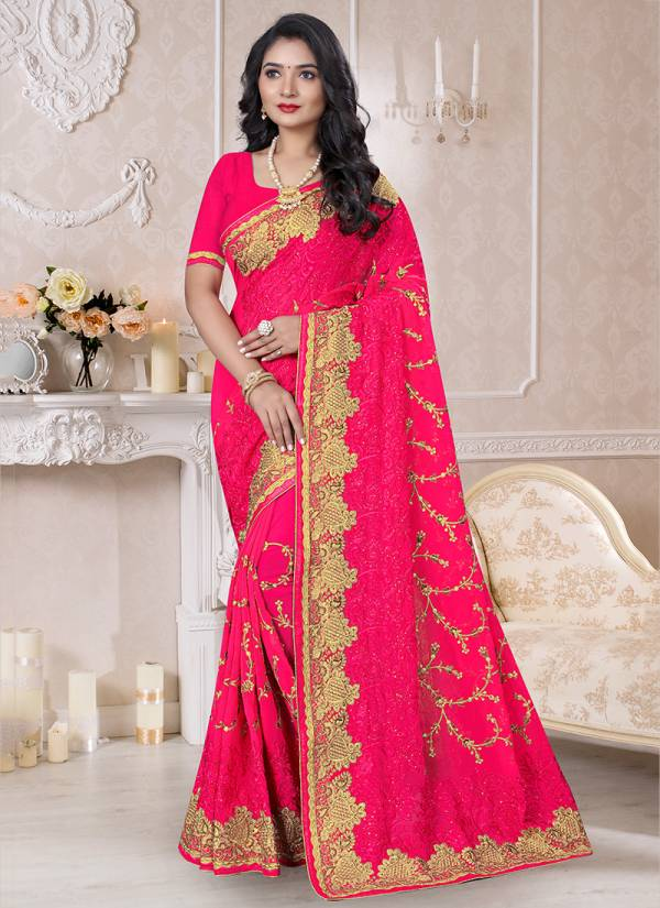 Utsav Nari Ruhani Series 731-740 Georgette Latest Designer Heavy Jari & Resham Embroidery Work Wth Fancy Stone Work Party Wear Sarees Collection