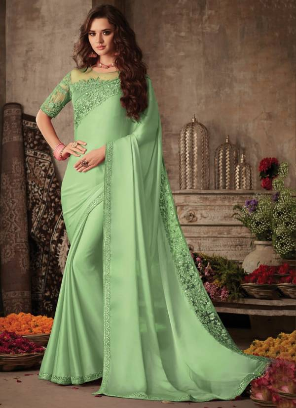 TFH Sandalwood Series SW607-SW607L Miracle Silk Heavy Border Work Gorgeous Look Party Wear Sarees Collection