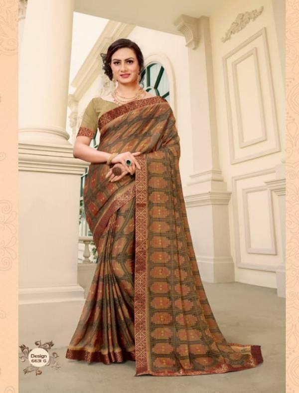 Kodas Trendz Brasso Printed Saree With Border Daily Wear Sarees Collection