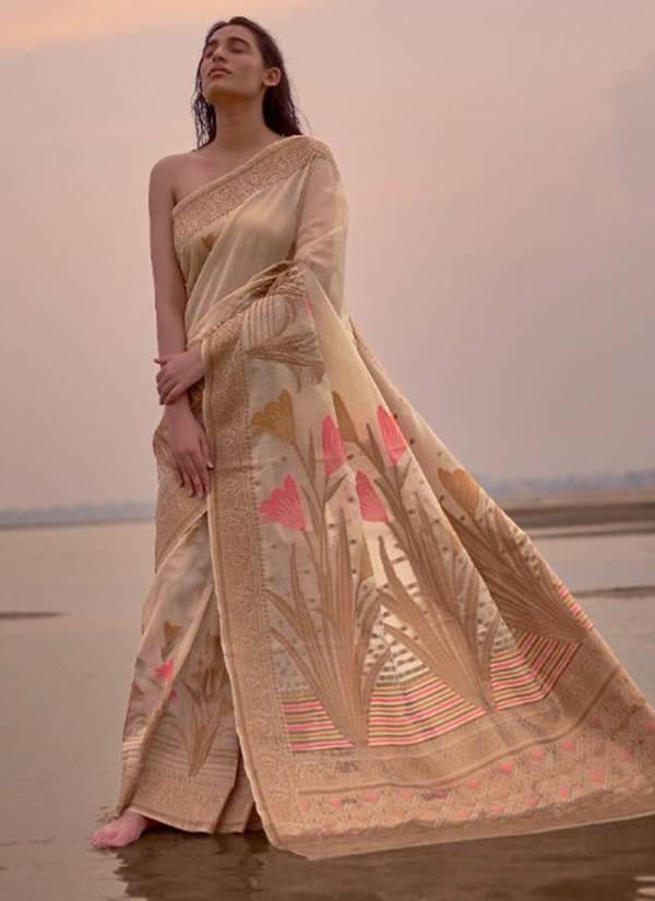 Rajtex Kasak Series 150001-150006 Pure Linen Silk Latest Designer Saree Collection