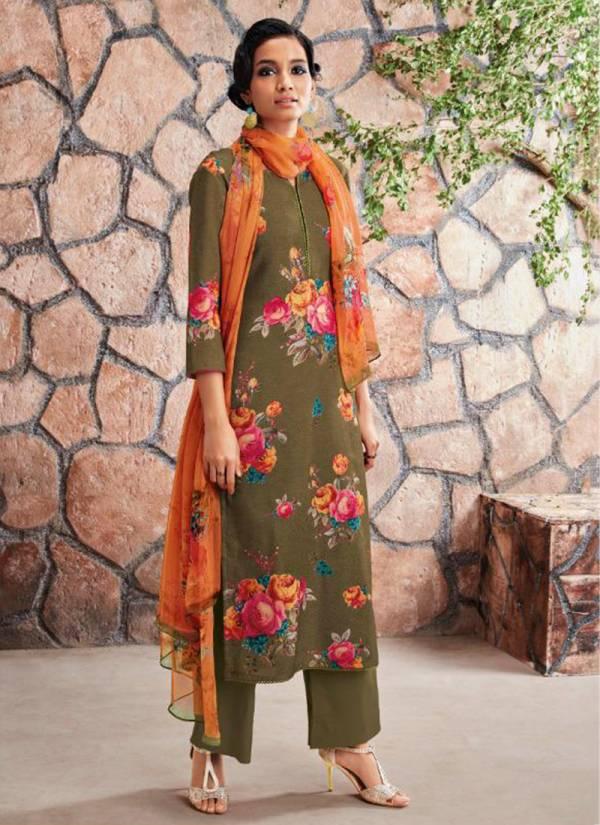 Ganga Ardor Series C0444-C0449 Wool Dobby Printed With Stylish Swarovski Work Casual Wear Suits Collection