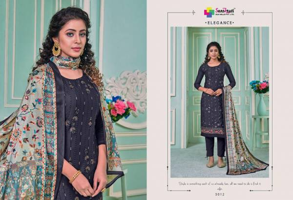 Sanskruti Safron Series 5012-5017 Pure Jam Silk With Heavy Embroidery With Sequins Work Designer Casual Wear Churidar Suits Collection
