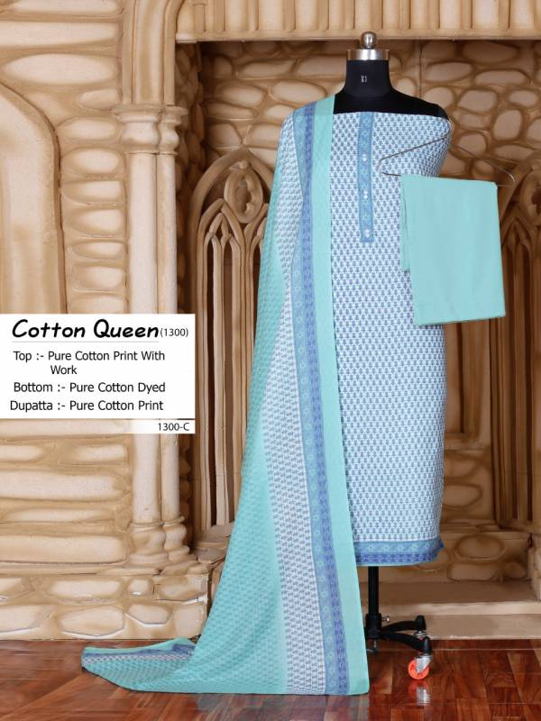 Bipson Cotton Queen 1300 Pure Cotton Printed With Work Non Catalog Dress Material Collection
