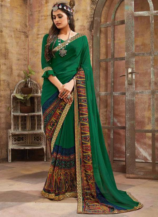 Saroj Blue Berry Series 1001-1010 Georgette Printed Casual Wear Fancy Look Sarees Collection