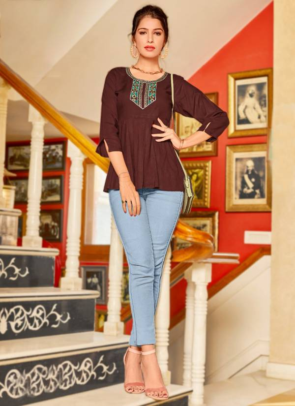 Ladyview Cool Crush Heavy Rayon With Fancy Embroidery Work Short Fancy Top Collection