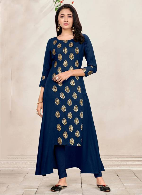 Poonam Designer Hirva Series 3001-3005 Soft Malai Crepe With Foil Printed Designer Daily Wear Gown Style Kurtis Collection