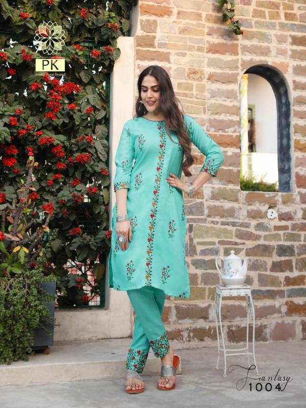 PK Fashion Fantasy Vol 1 Heavy Cotton Printed Embroidery Work Kurtis With Bottom Collection