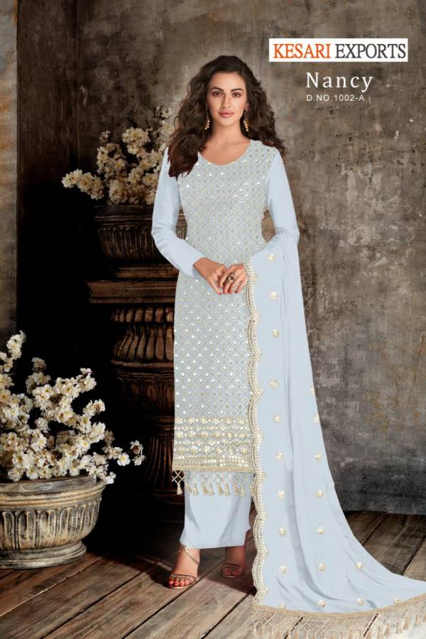 Kesari Exports Nancy Series 1002A-1002D Georgette With Designer Heavy Gota Patti Work Traditional Wear New Salwar Suits Collection