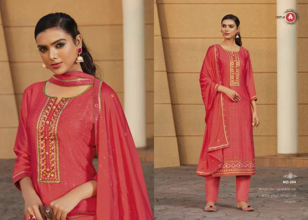 Triple AAA Khwab Modal Satin With Embroidery Work Latest Salwar Suits Collection
