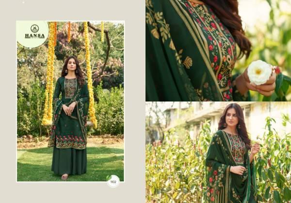 Hansa Hidaya Anushka Jam Cotton Digital Printed With Hand Work Palazzo Suits Collection
