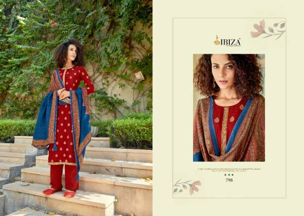 Ibiza Noor Series 798-804 Pure Pashmina Wool Jacquard With Fancy Codding Work Winter Collection Suits Collection