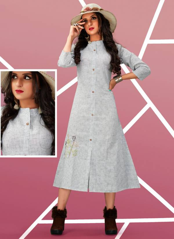 Tunic House Nita Series 4001-4005 Handloom Cotton With Fancy Look Embroidery Work Kurti Collection