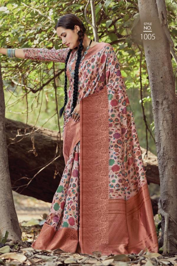 Sangam Prints Blossom Series 1001-1006 Silk With Digital Printed Designer New Look Sarees Collection
