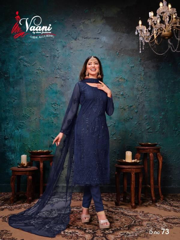 Dani Fashion Vaani Vol 7 Net With Work Ramzan Eid Special Churidar Suits Collection