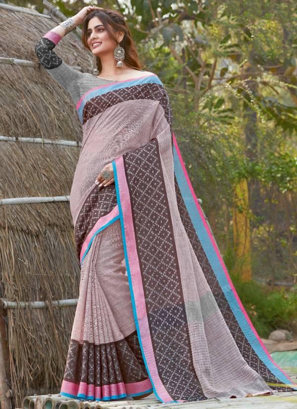 Sangam Prints Carma Linen Heavy Hand Embroidery Work Designer Sarees Collection