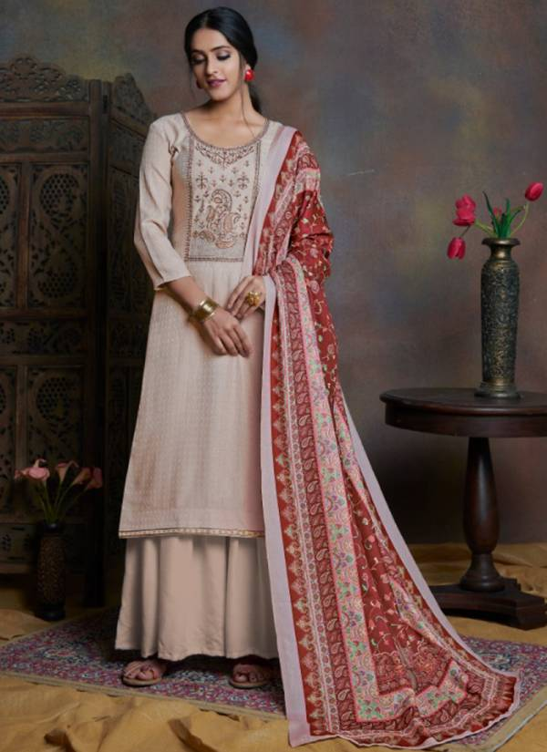 Bipson Kashmiri Beauty Series 1100-1103 Wollen Pashmina Dyed With Embroidery Work Festival Wear Suits Collection