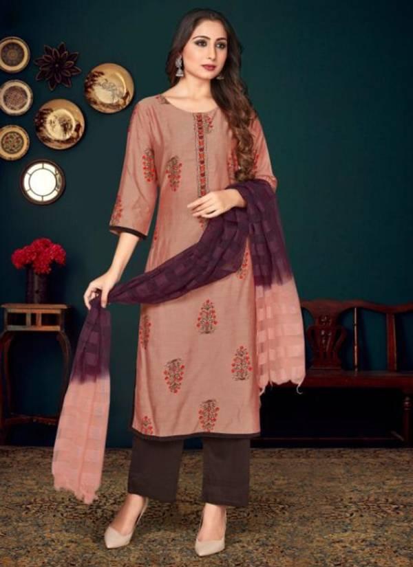 Tunic House Era Silk Series 84001-84006 Muslin Silk Printed & Embroidery Work Kurti With Stylish Look Dupatta Collection