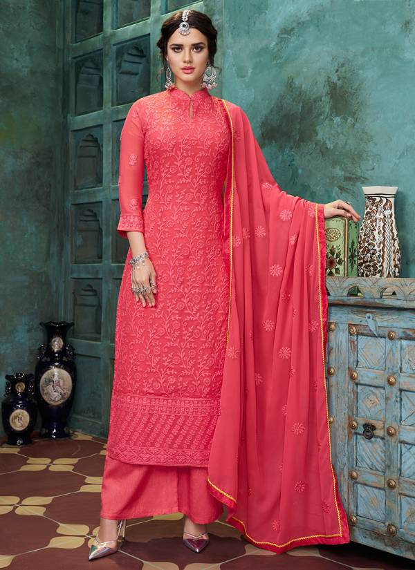 Sajawat Creation Lakhnavi Vol 05 Series 61-66  Heavy Faux Georgette With Full Stitch Top Salwar Suits Collection (Only Top Stitch)