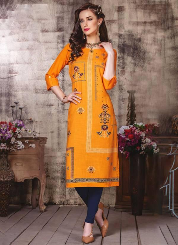 Mayree Fashion Albeli Rayon With Embroidery Work Straight Cut Kurtis Collection