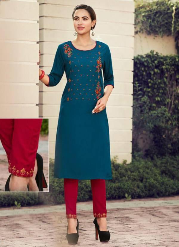Baanvi Galaxy Vol 1 Series 1001-1008 Rayon Slub With Embroidery Work New Designer Kurtis With Pants Collection