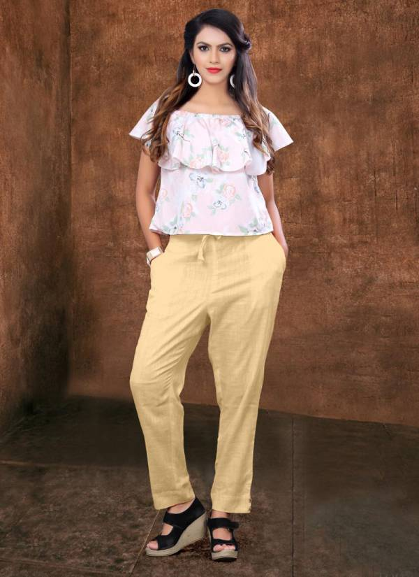 Poorvi Pencil Pant Series 1001-1006 Cotton Slub Fancy & Stylish Look Casual Wear Pant Collection
