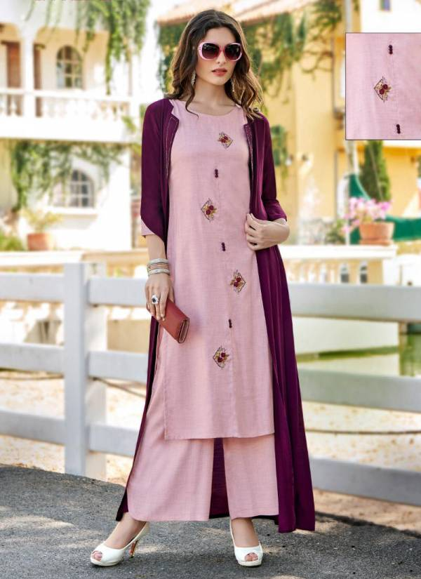 Koodee Sweet Heart Vol 3 Series 5107-5110 Milance Fancy Fabric Kurti Palazzo With Fancy Crepe Shrug Collection