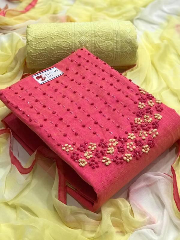 VT Designer Series U-1 - U-4 Linen Cotton With Designer Hand Work Non Catalog Dress Material Collection