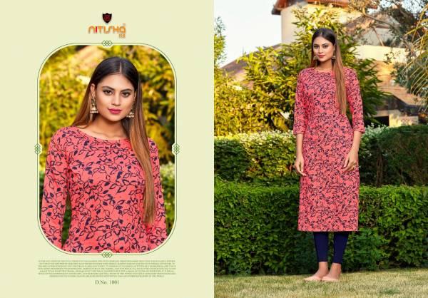 Nitisha NX Kitab Rayon Printed With Hand Work Kurtis Collection