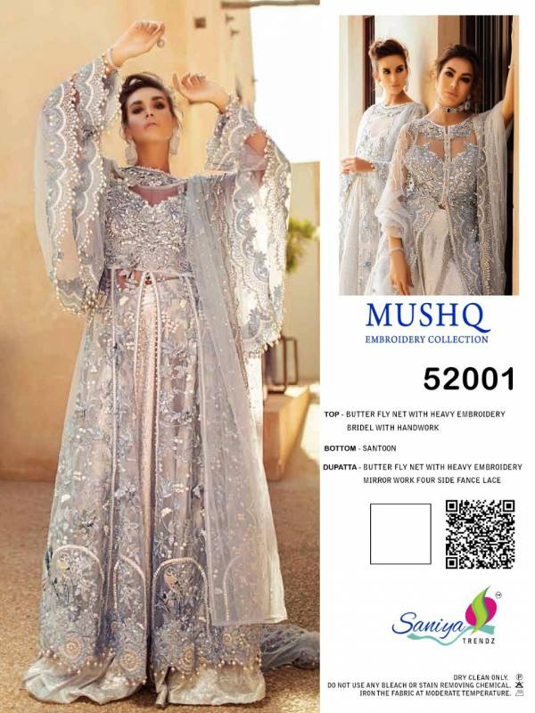 Saniya Trendz Mushq Bridal Series 52001-52003 Butterfly Net With Heavy Embroidery Work & Hand Work Eid Special Heavy Pakistani Suits Collection
