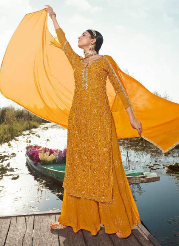 Maisha Veronica Georgette With  Heavy Party Wear Palazzo Suit Collection