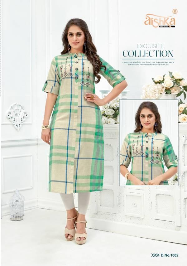 Alishka Fashion Zaara Pure Cotton HandWorked Embroidery Designer Cotton Kurtis Collection