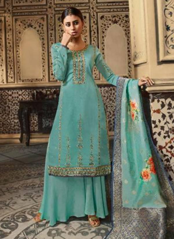 Sara Trendz Ekanshi Series 9061-9066 Satin Georgette Latest Heavy Work With Diamond Work Festival Wear Palazzo Suits Collection