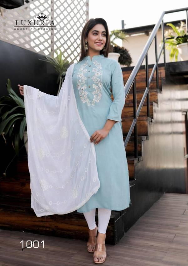 Luxuria Fashion Ruhani Series 1001-1004 Premium Rayon Slub With Fancy Embroidery Work New Designer Kurtis With Dupatta Collection
