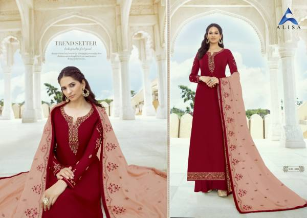 Alisa Sanchi Series 5001-5006 Satin Georgette With Heavy Additional Diamond Work Designer Party Wear Palazzo Suits Collection