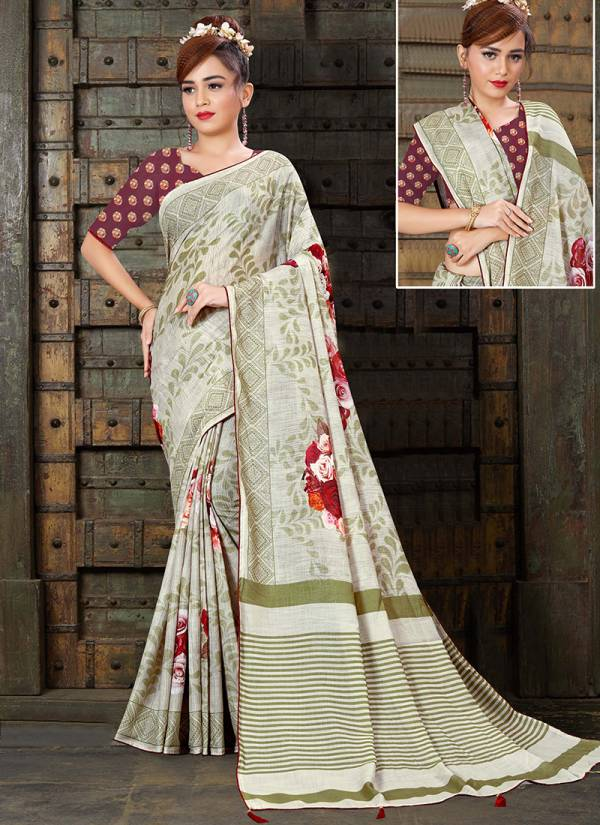 Ladys Ethnic Series 3501-3511 Linen Silk Digital Print Stylish Look Sarees Collection