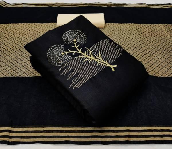 Designer Suits Series 1-4 Slub Cotton With  Fancy Work Latest Designer Casual Wear Black Non Catalog Salwar Suits Collection