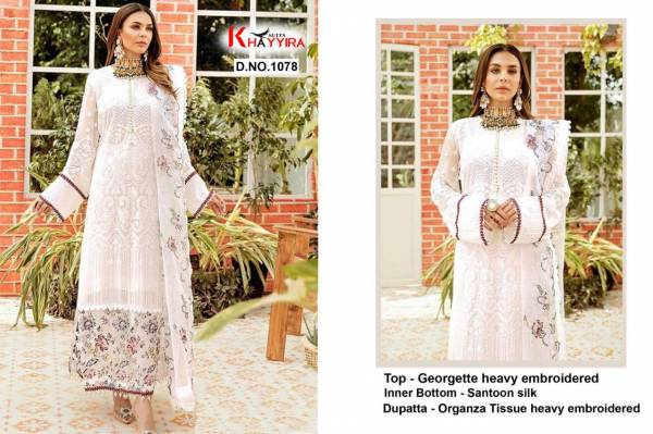 Khayyira Suits Series 1078-1079 Georgette Heavy Embroidery Work Latest Designer Festival Wear Pakistani Suits Collection