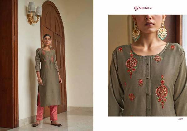 Shubh NX Aasiya Series 1001-1008 Chinnon With Embroidery Work Latest Designer Casual Wear Long Kurtis With Palazzo Collection