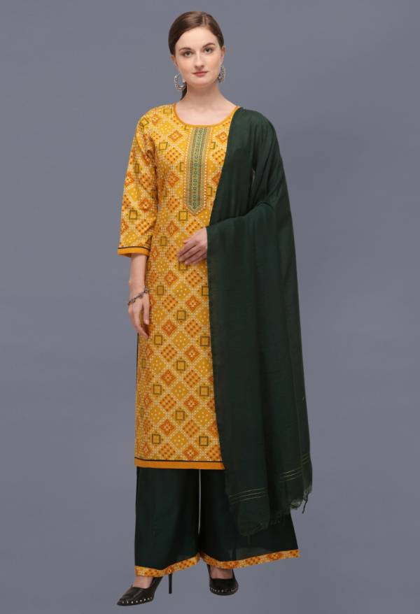 Bandhni Cotton Blended With Bandhani Print and Heavy Embroidery Worked Festive Wear Suits Collection