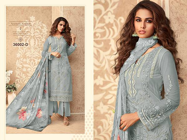 An Bazaar Zoya 36002 Series Zoya36002A-Zoya36002D Butterfly Net With designer Heavy Embroidery Work Designer Palazzo Suits Collection