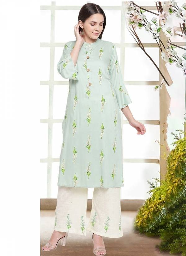 KVS Mahal Cotton Rayon Floral Printed With Fancy Work Kurti With Bottom Collection