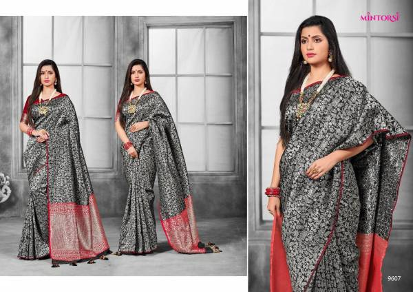 Mintorsi Silver Beauty Series 9601-9610 Banarasi Silk With Silver Jaal With Exclusive Pallu Traditional Wear Sarees Collection