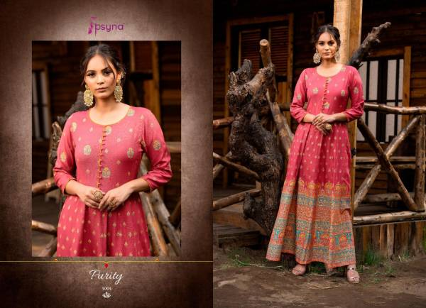 Psyna Purity Vol 4 Series 4001-4005 Rayon Beautiful Gold Printed Designer Long Gowns Collection