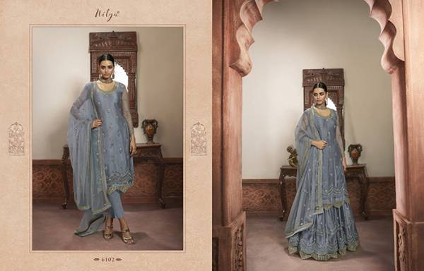 LT Nitya Series 6101-6109 Faux Georgette Net & Rangoli Satin With Embroidery Work Designer Party Wear Salwar Suits Collection