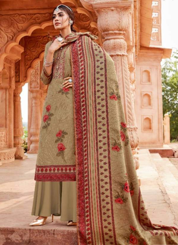 Alok Suit Varunikaa Series S-524-001 - S-524-010 Casual Wear Pure Wool Pashmina Print With Designer Thread Embroidery & Swarovski Diamond Work WInter Suits Collection