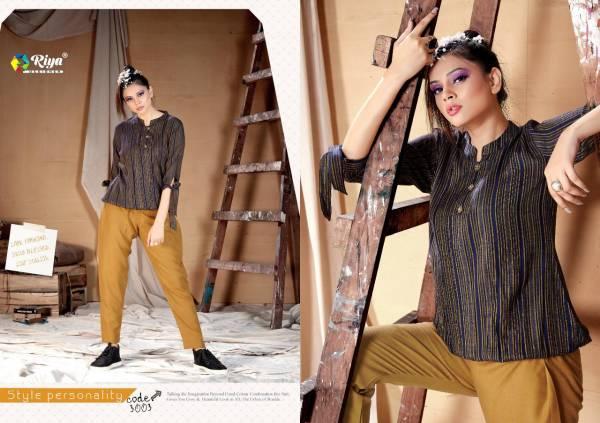 Riya Designer Western Vol 3 Series 3001-3005 Handloom Cotton Rayon Stripes Trendy Look Tops With Pants Collection