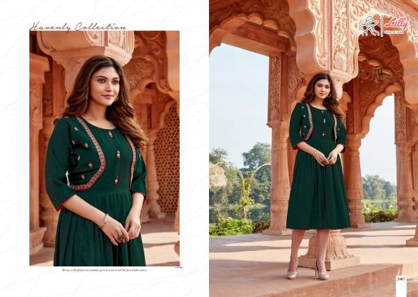 Lilly Style Ghoomar Cotton Slub With Embroidery Work Festival Wear Designer Kurti Collection