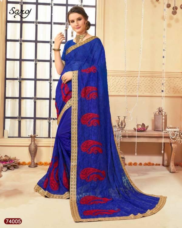 Saroj Selena Georgette With Designer Heavy Embroidery Work Festival Wear Sarees Collection